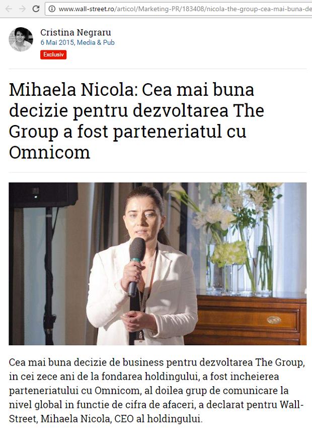 Mihaela Nicola in revista SRI - martie mai 2014